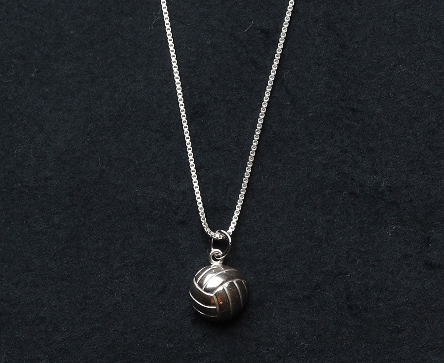 Volleyball half ball charm on sterling silver necklace