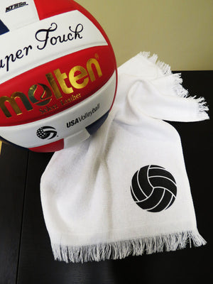 volleyball hand towel in white