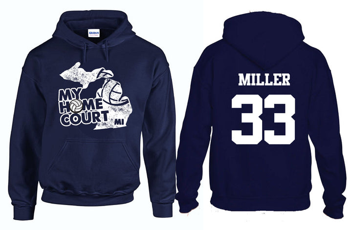 volleyball my home court michigan hooded sweatshirt
