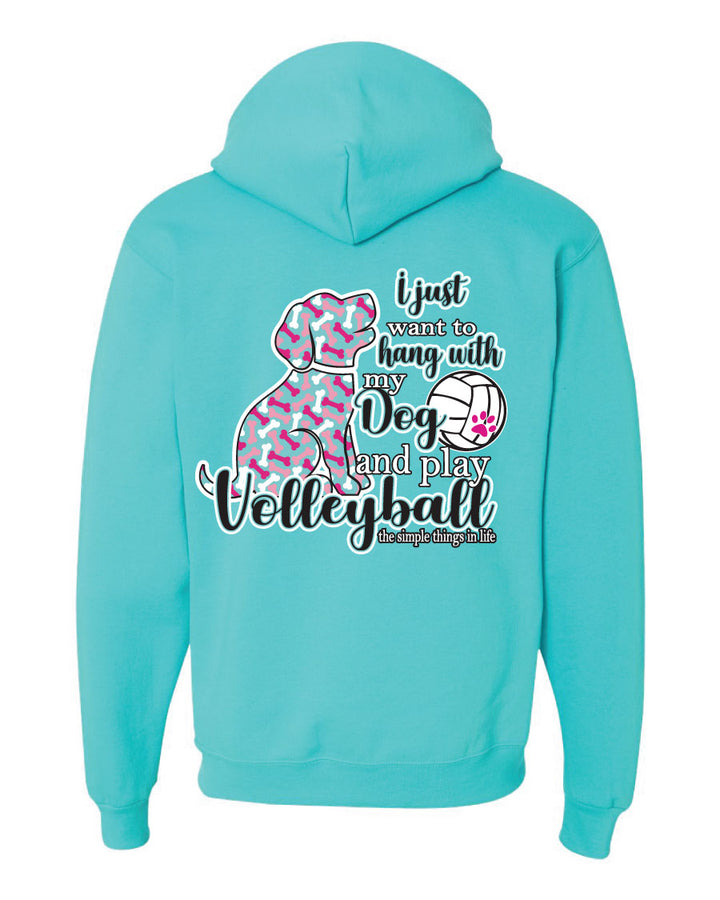 volleyball dog hooded sweatshirt scuba blue