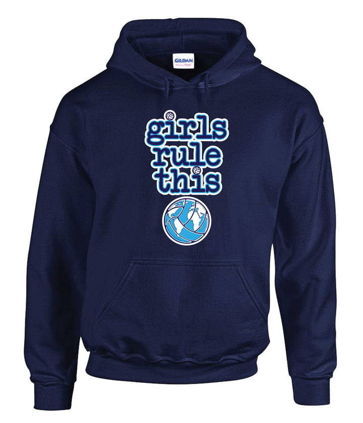 girls rule volleyball hooded sweatshirt
