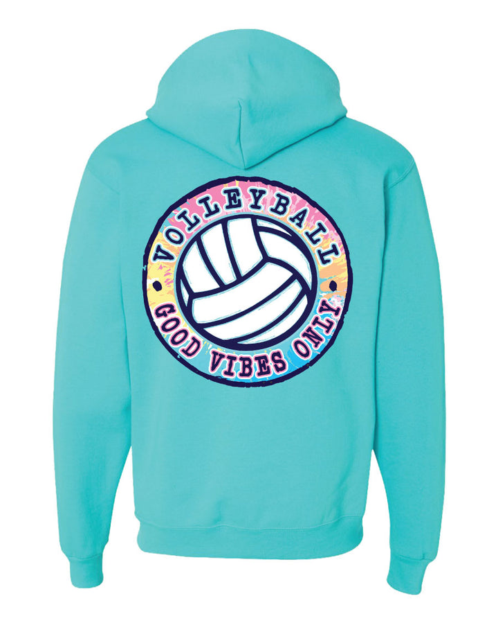 good vibes only volleyball hooded sweatshirt scuba blue