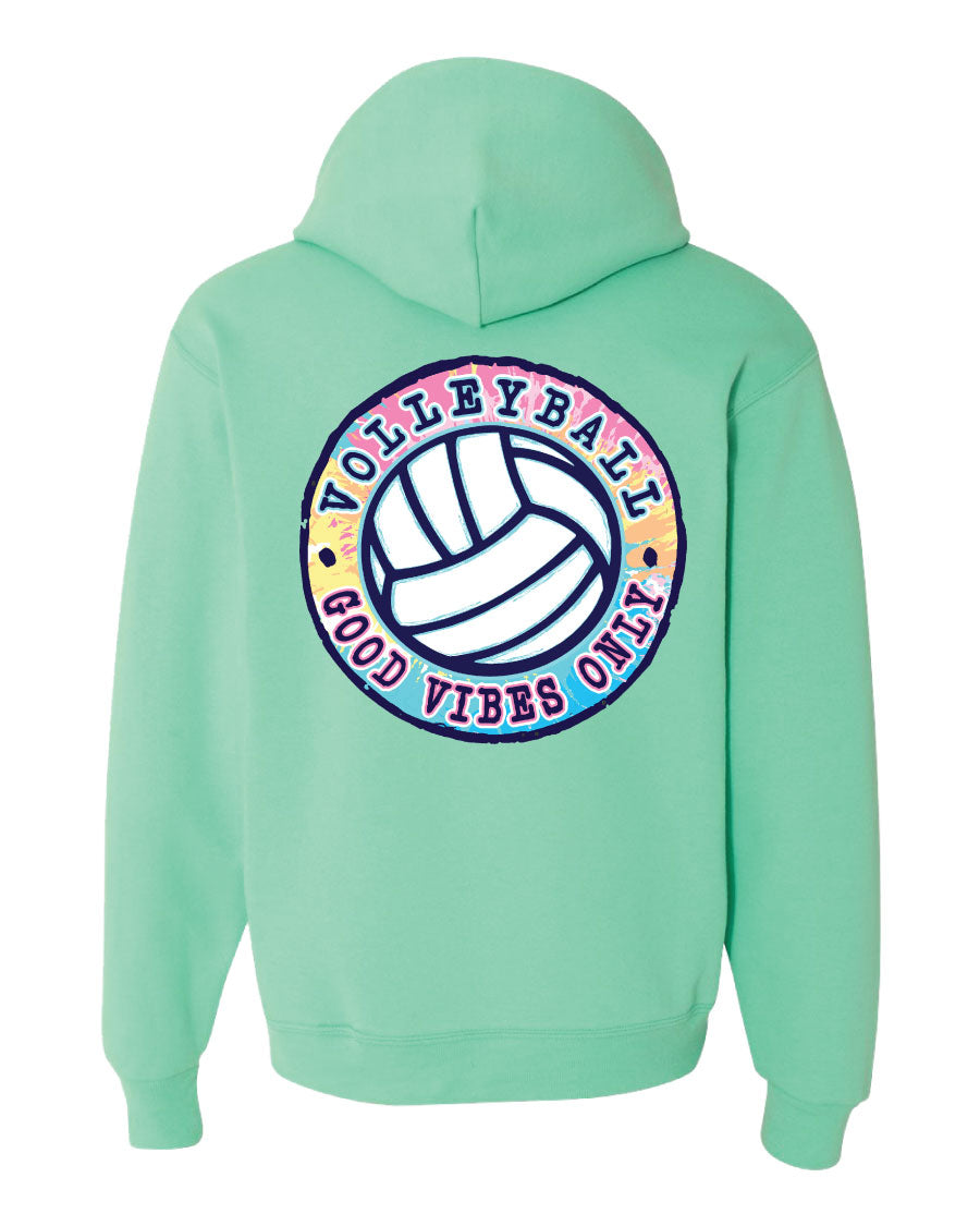 good vibes only volleyball hooded sweatshirt sea foam green