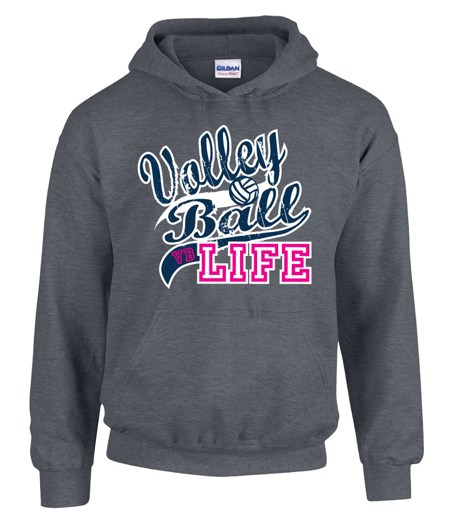 volleyball life hooded sweatshirt in grey