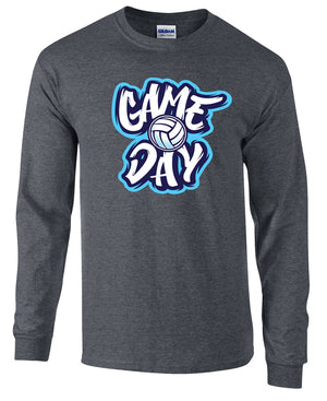 game day volleyball long sleeve tee grey
