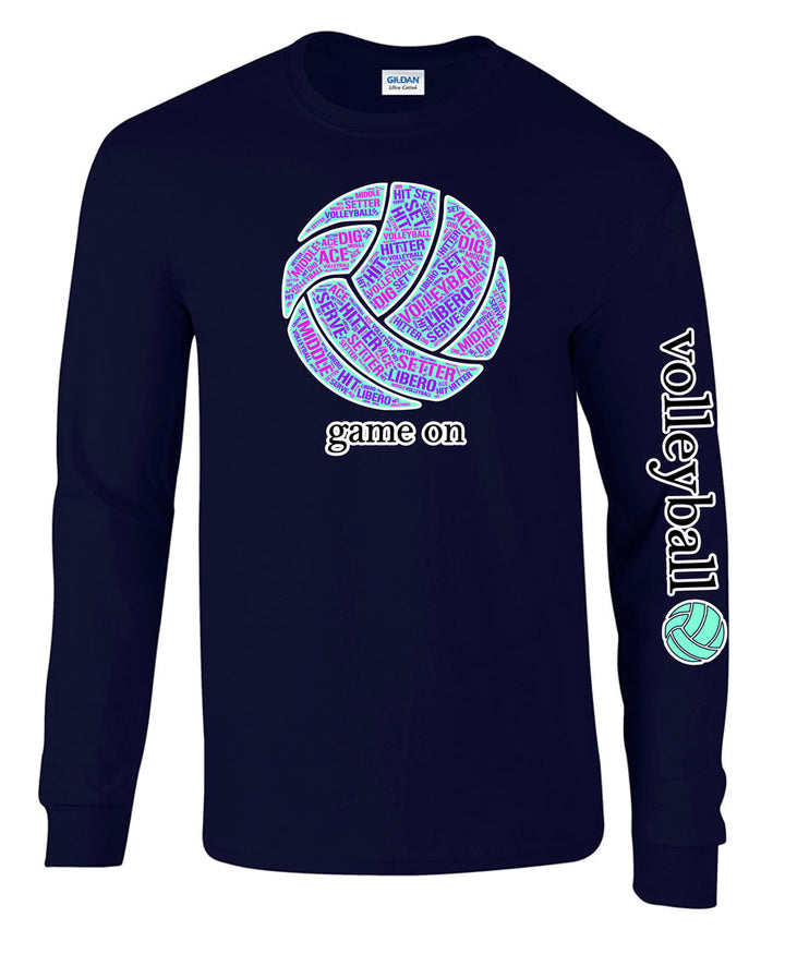 game on volleyball long sleeve tee