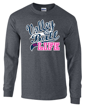 volleyball life design on grey long sleeve tee