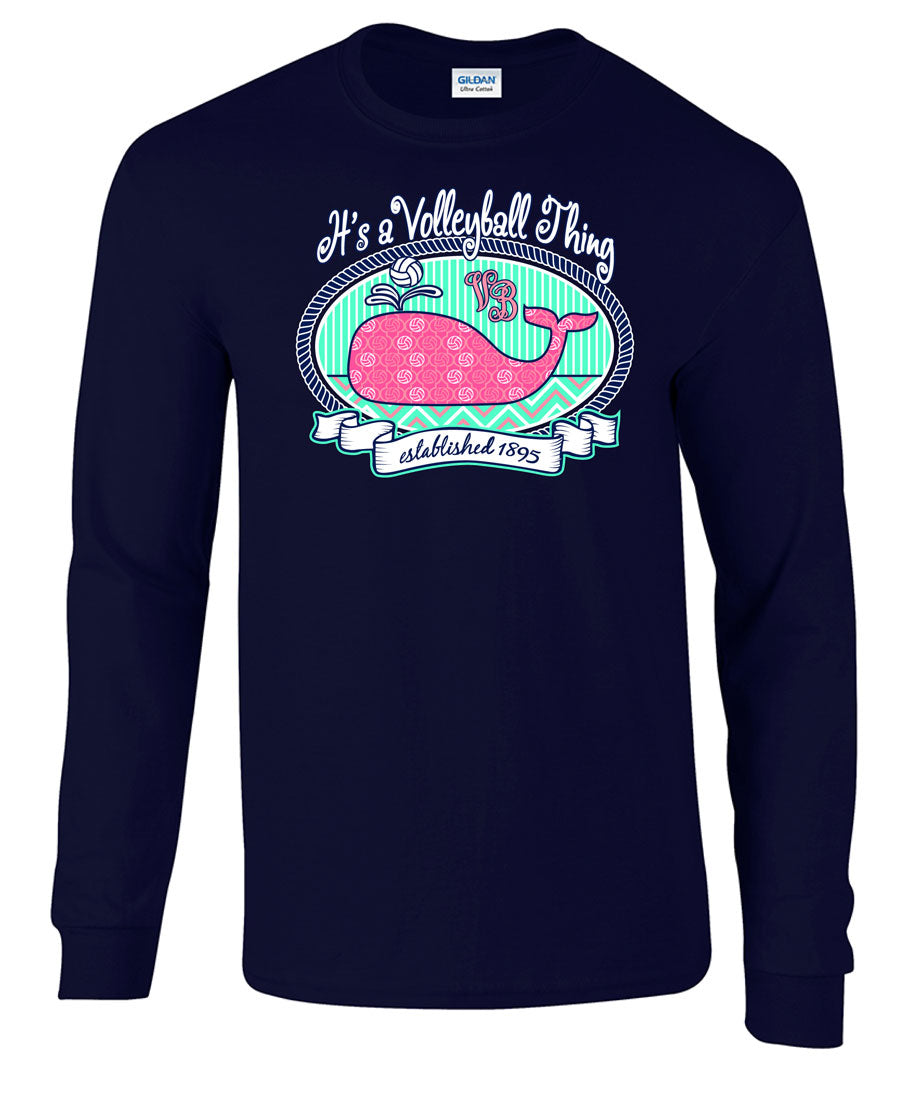 volleyball whale long sleeve tee
