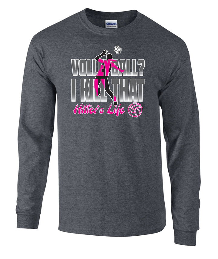 volleyball hitter's life long sleeve tee