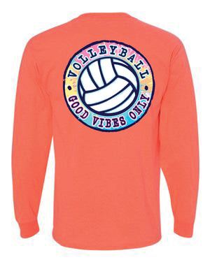 good vibes only volleyball long sleeve tee coral