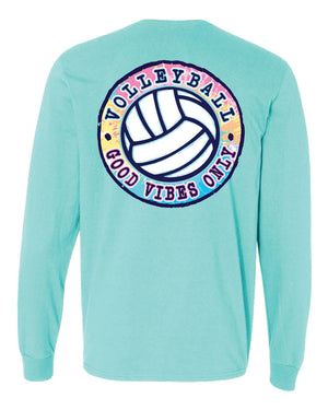 good vibes only volleyball long sleeve tee scuba blue