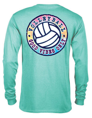 good vibes only volleyball long sleeve tee seafoam green