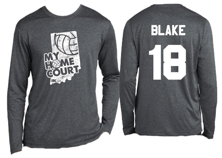 volleyball my home court indiana dry wick long sleeve tee