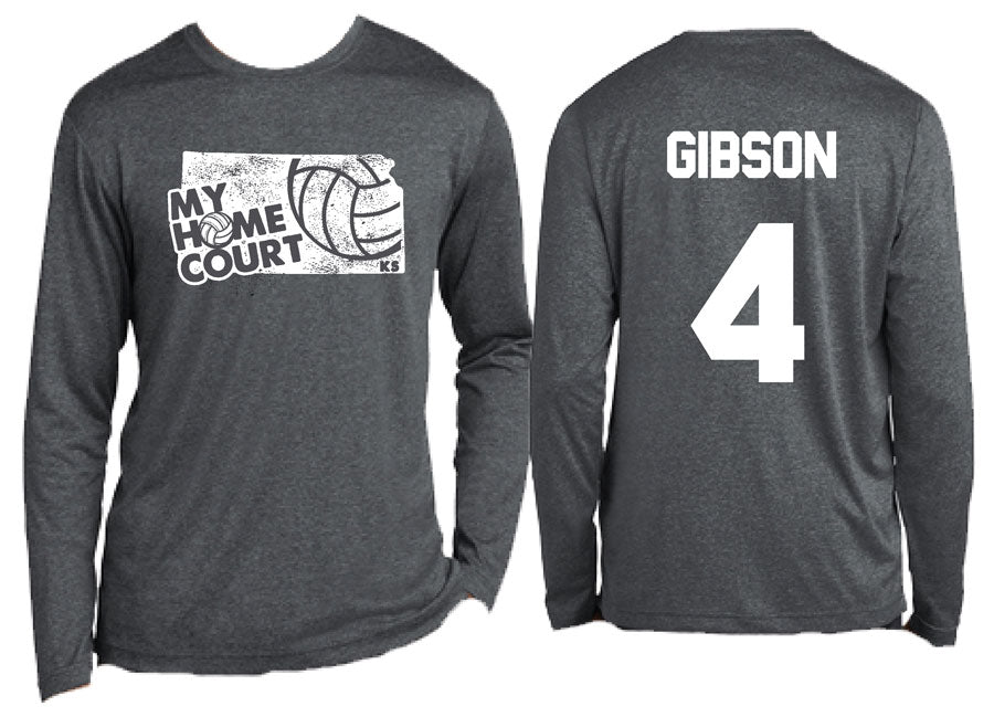 volleyball my home court kansas dry wick long sleeve tee