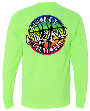 volleyball all day every day long sleeve shirt neon green