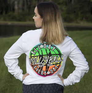 volleyball all day every day long sleeve shirt white modeled