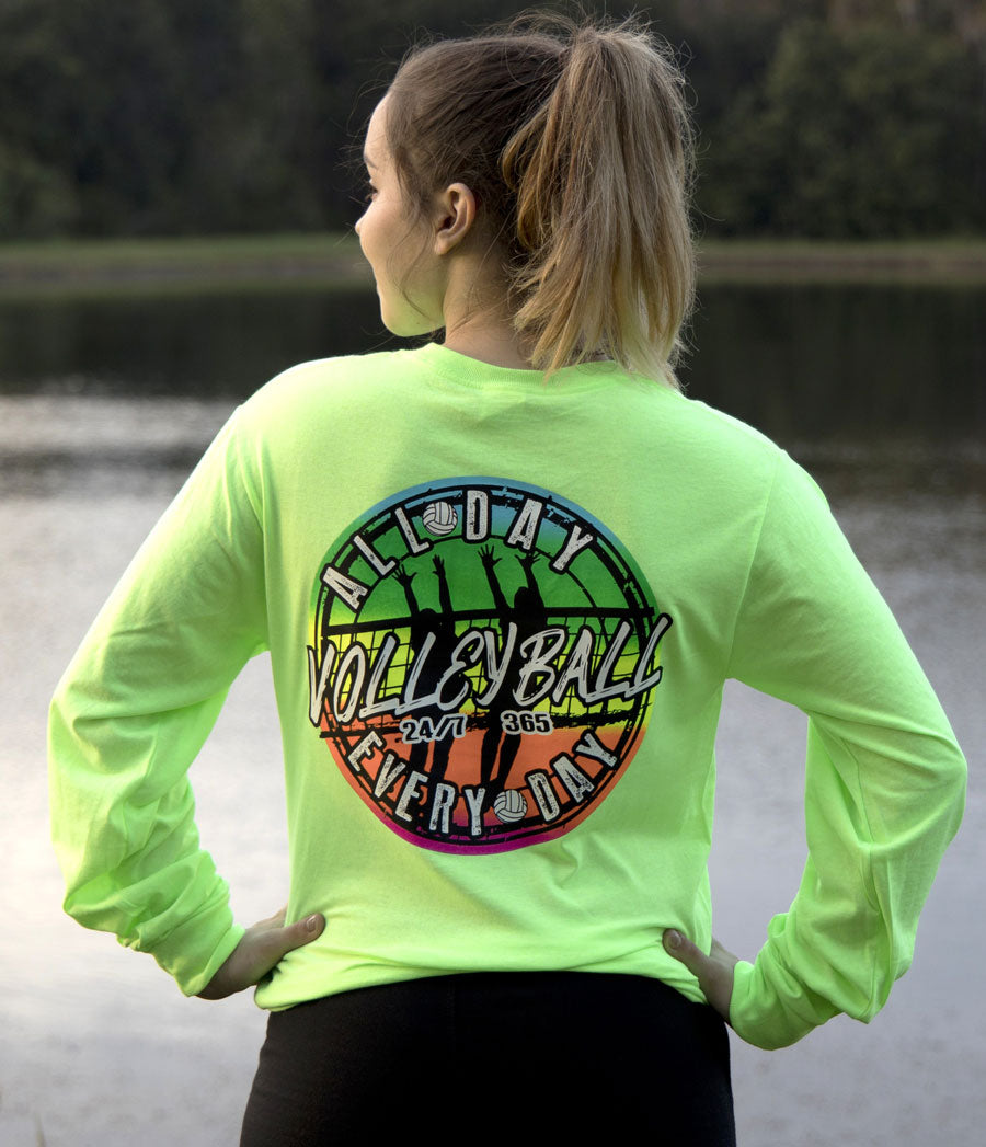 volleyball all day every day long sleeve shirt neon green modeled