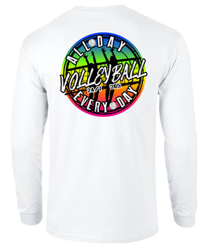 volleyball all day every day long sleeve shirt white