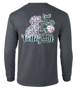 volleyball dog long sleeve shirt grey