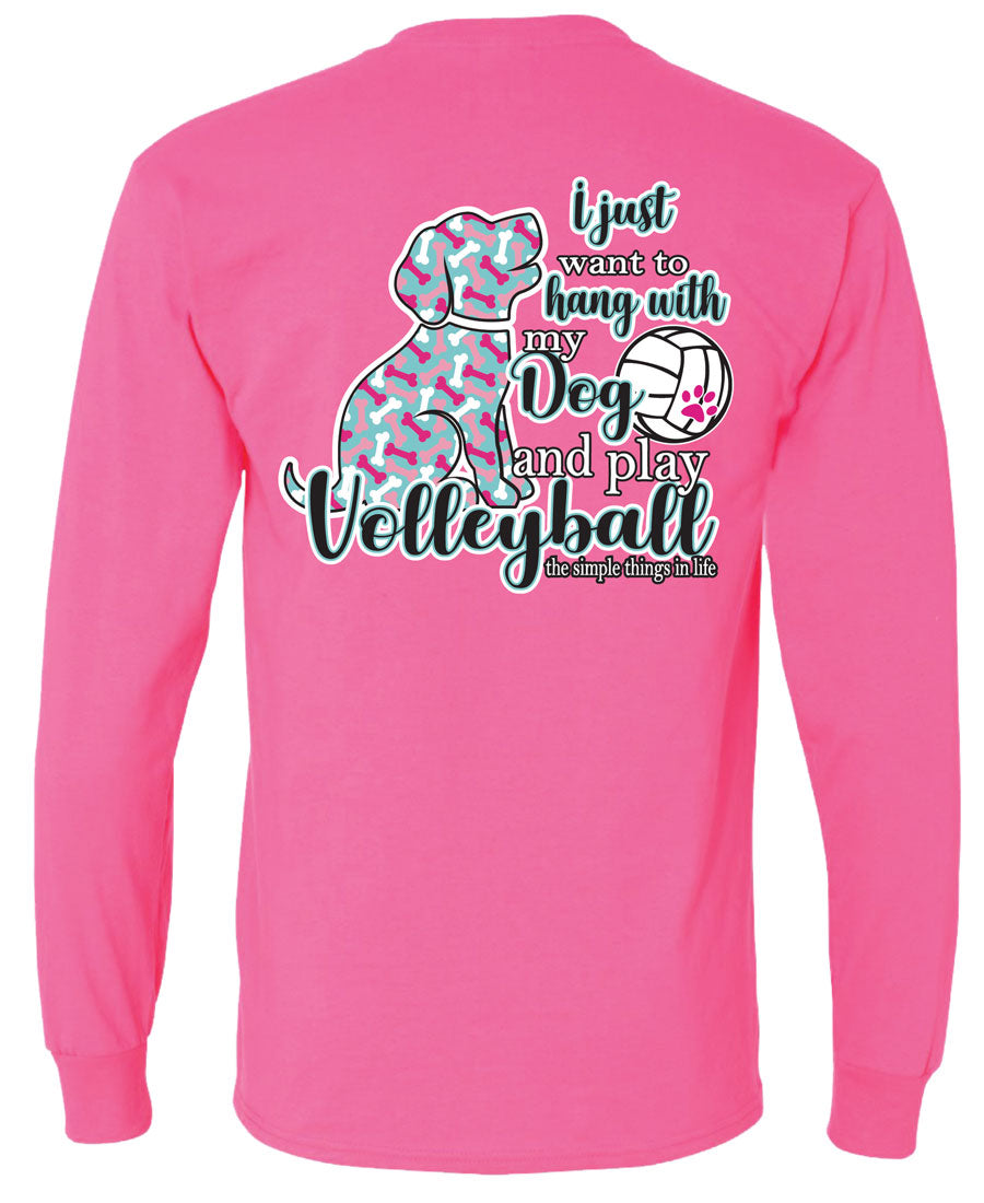 volleyball dog long sleeve shirt pink