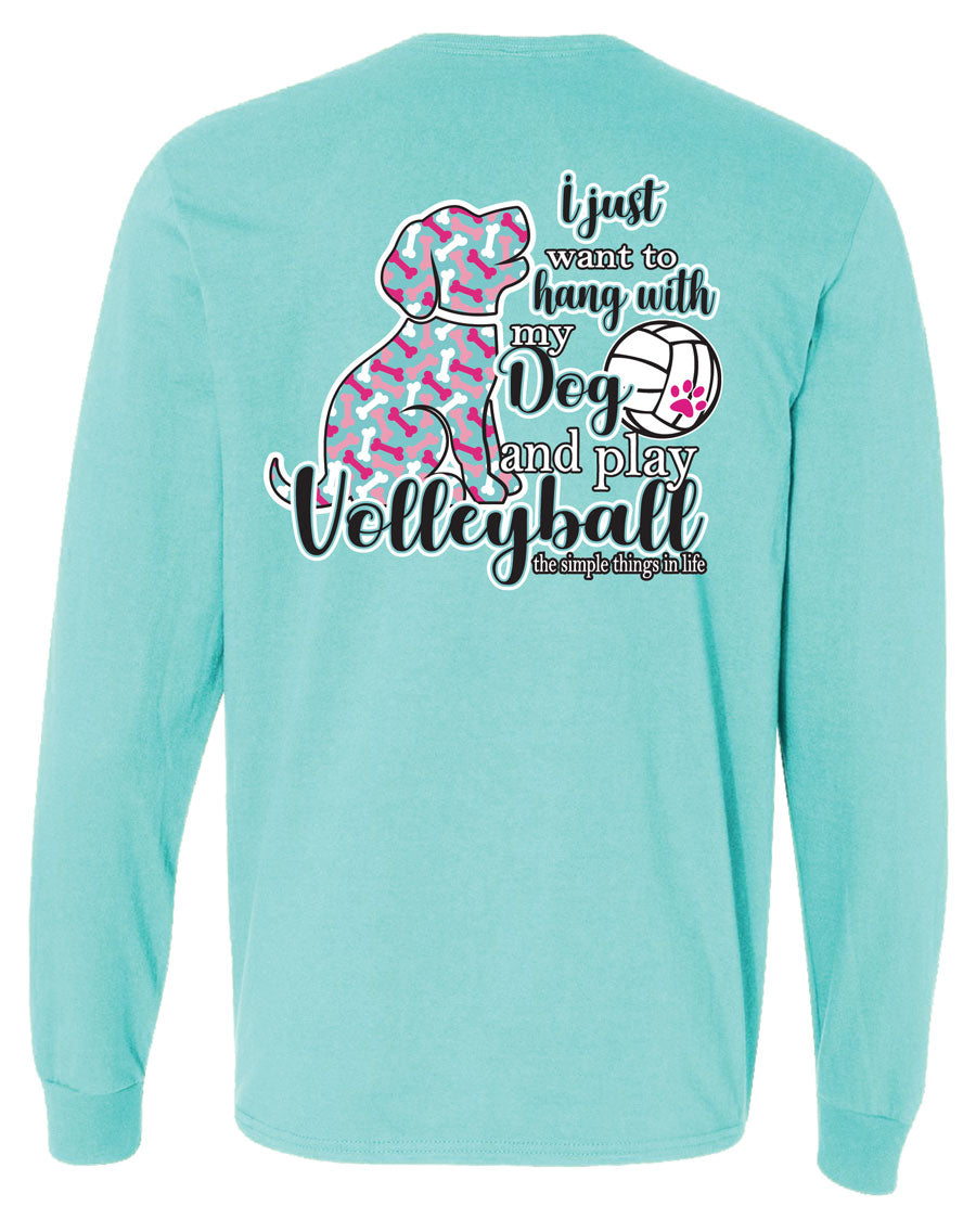 volleyball dog long sleeve shirt aqua blue