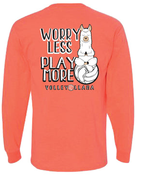 Volleyball Llama Worry Less Play More long sleeve tee in coral