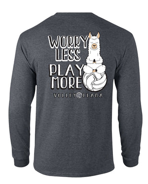 Volleyball Llama Worry Less Play More long sleeve tee in grey
