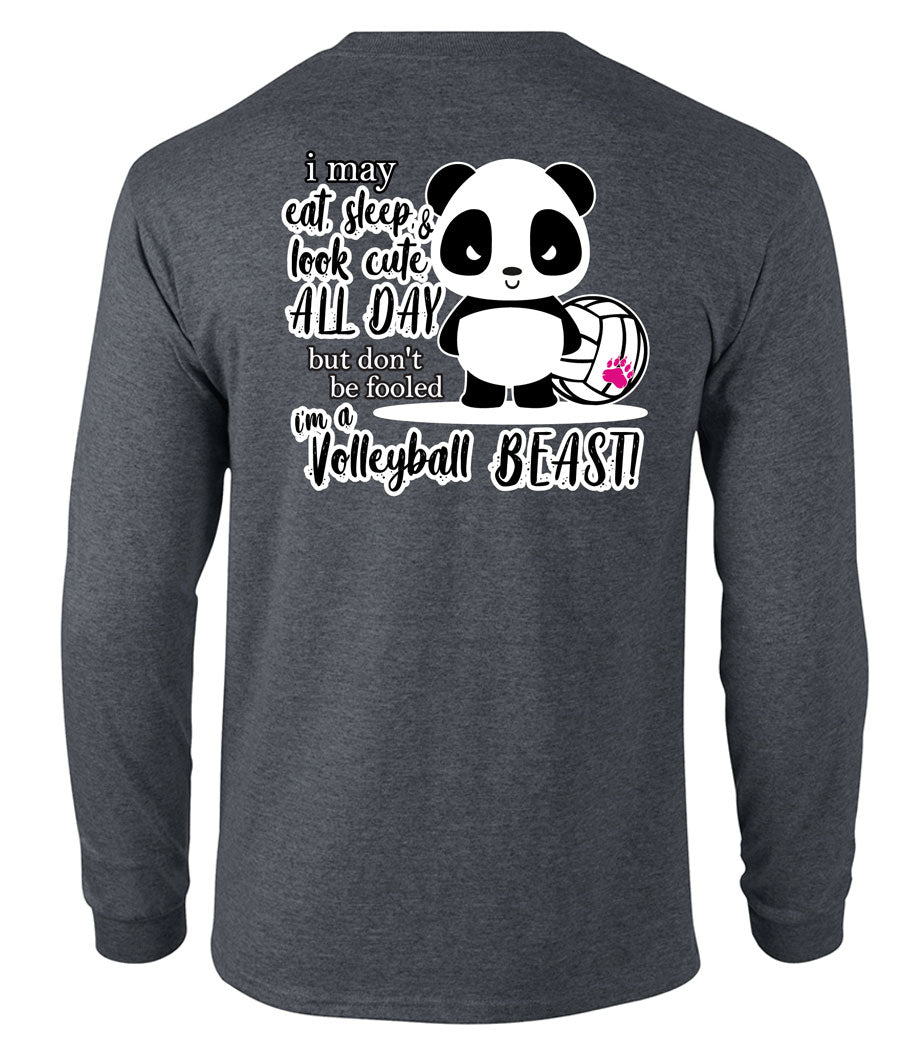 panda volleyball beast long sleeve tee grey