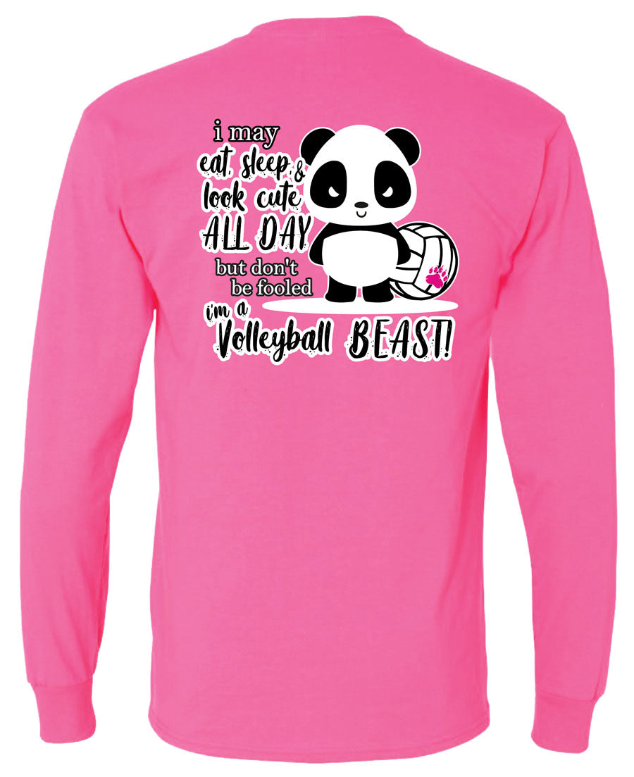 panda volleyball beast long sleeve tee pink