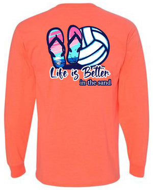 life is better in the sand volleyball long sleeve tee coral