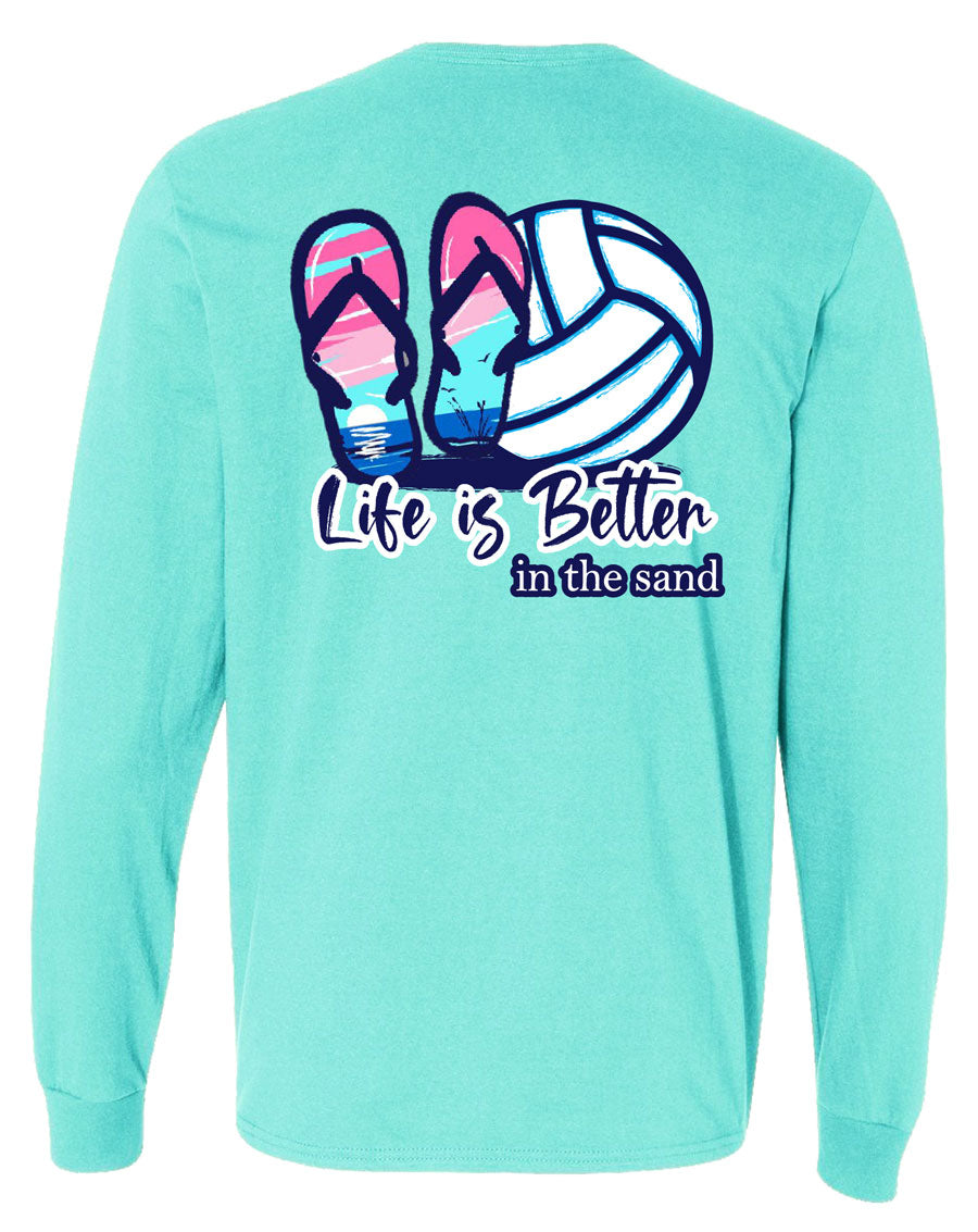 life is better in the sand volleyball long sleeve tee scuba blue
