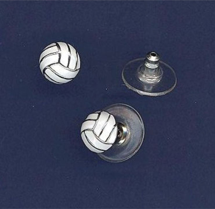 volleyball post earrings with white enamel inlays