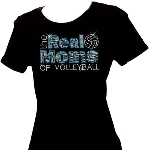 the real moms of volleyball scoop neck short sleeve rhinestone shirt