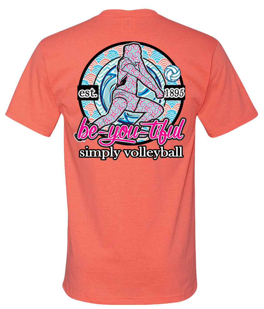 simply volleyball be you tiful short sleeve shirt coral