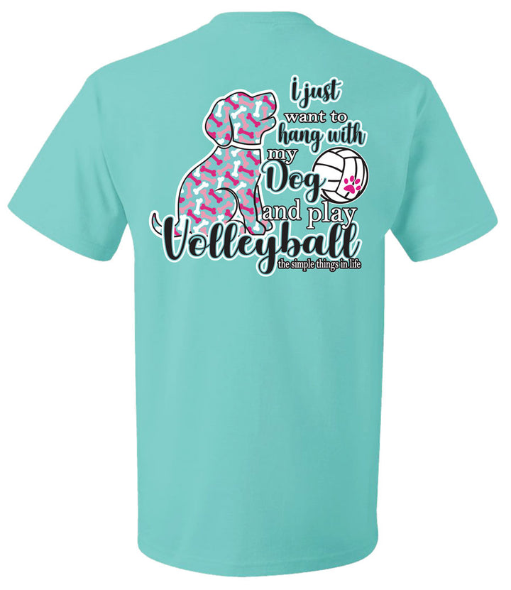 volleyball dog short sleeve shirt scuba blue