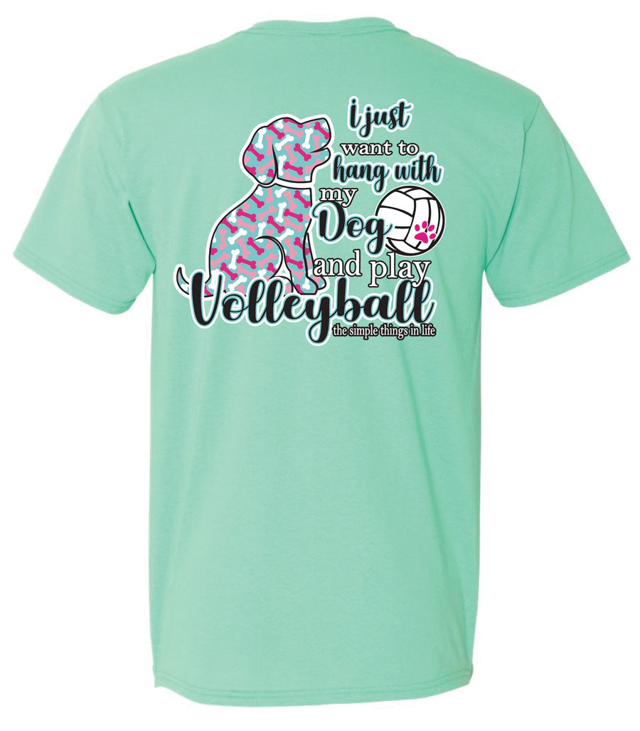 volleyball dog short sleeve shirt seafoam green