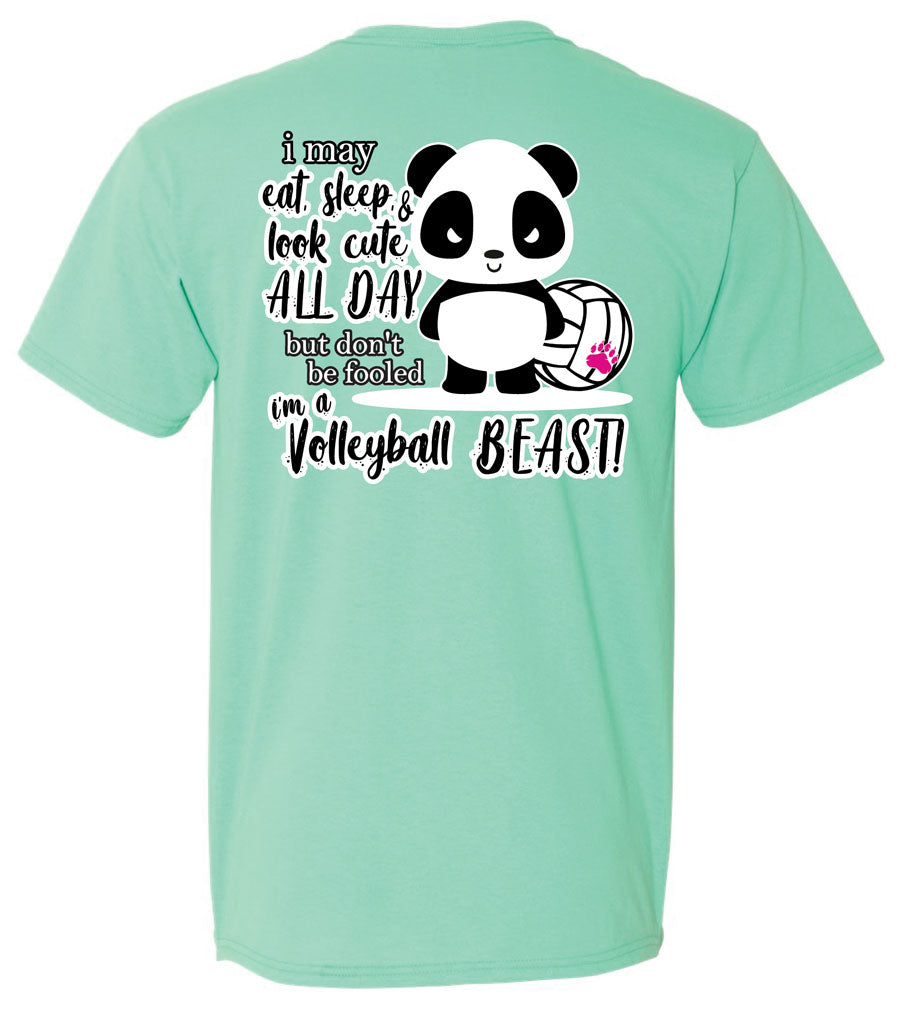 panda volleyball beast short sleeve tee sea foam green