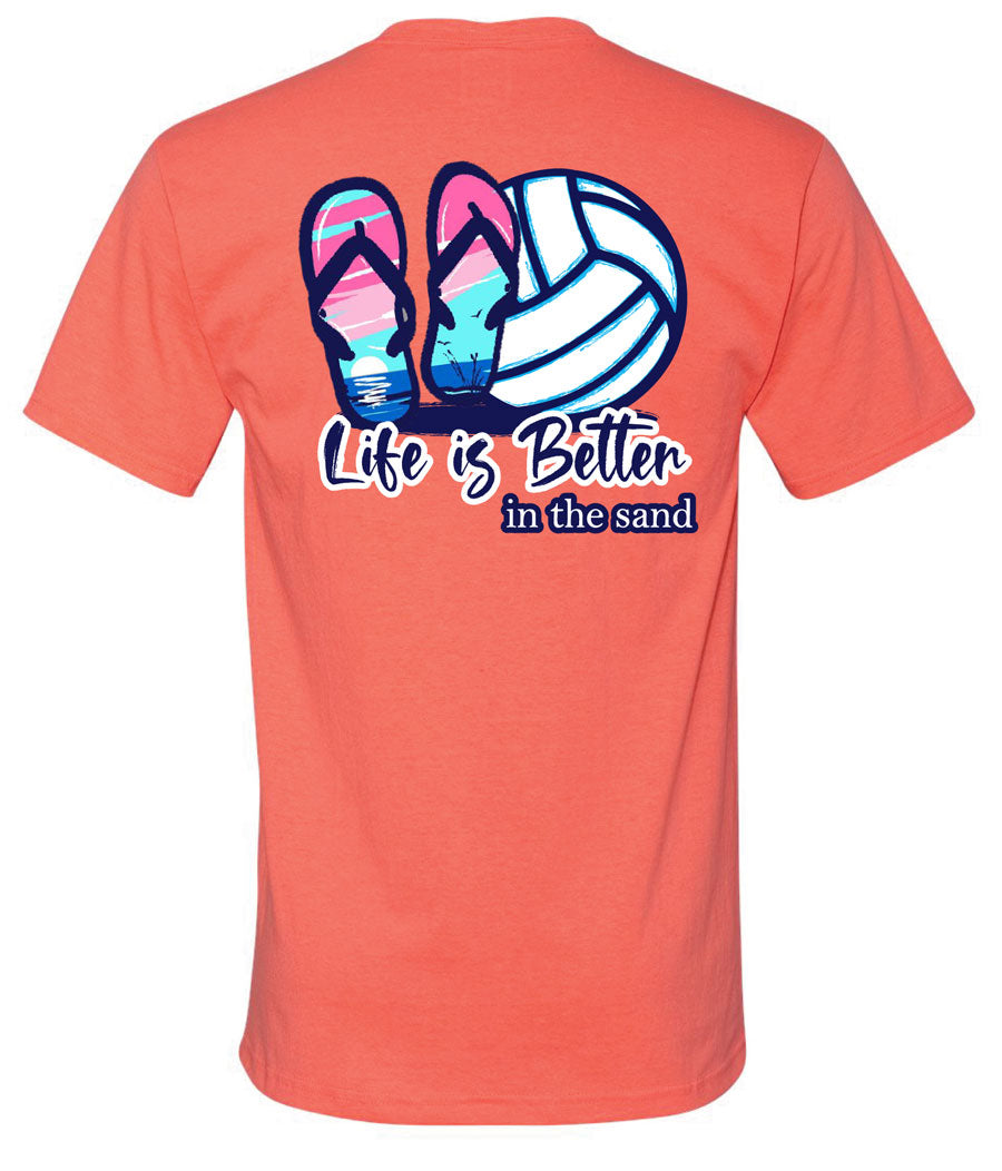 life is better in the sand volleyball short sleeve tee coral