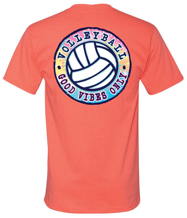 good vibes only volleyball short sleeve tee coral