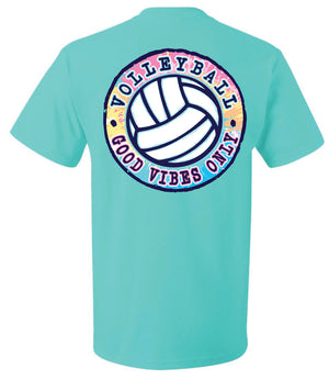 good vibes only volleyball short sleeve tee scuba blue