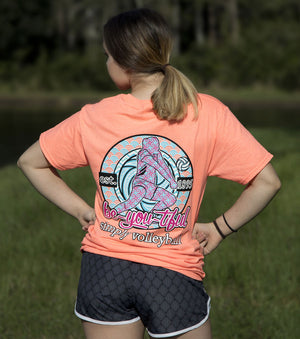simply volleyball be you tiful short sleeve shirt coral modeled