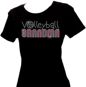 Volleyball Grandma pink and silver rhinestone scoop neck shirt
