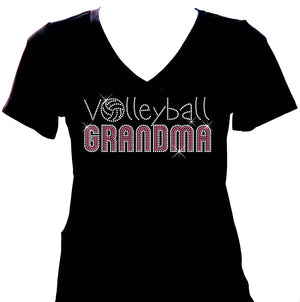 Volleyball Grandma pink and silver rhinestone v-neck shirt