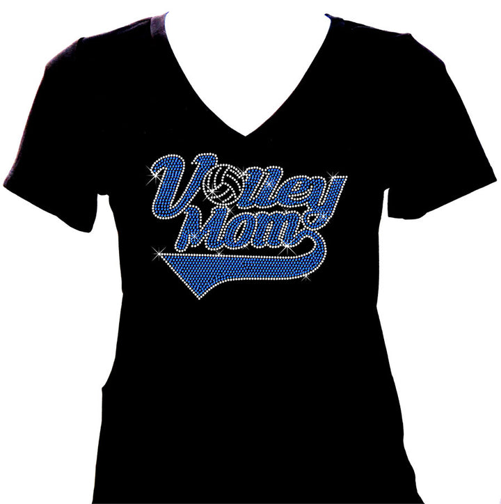 bling volleyball mom rhinestone shirt short sleeve v-neck