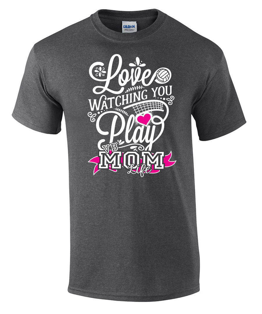 love watching you play volleyball mom life short sleeve tee in grey
