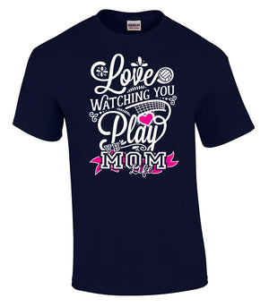 Love watching you play volleyball mom life short sleeve tee in navy