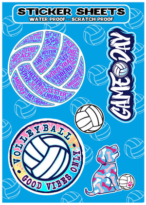 volleyball hydro flask sticker sheet