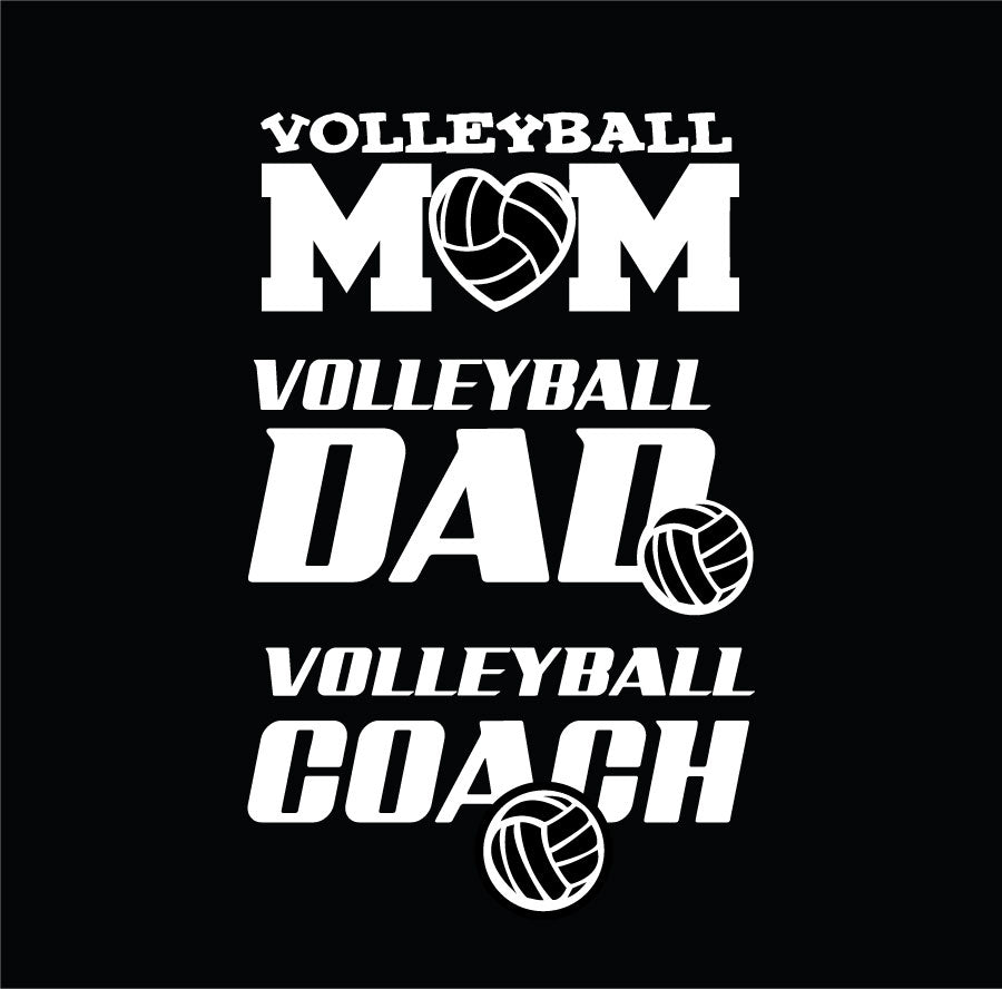 Volleyball Mom Volleyball Dad and Volleyball Coach car window decals