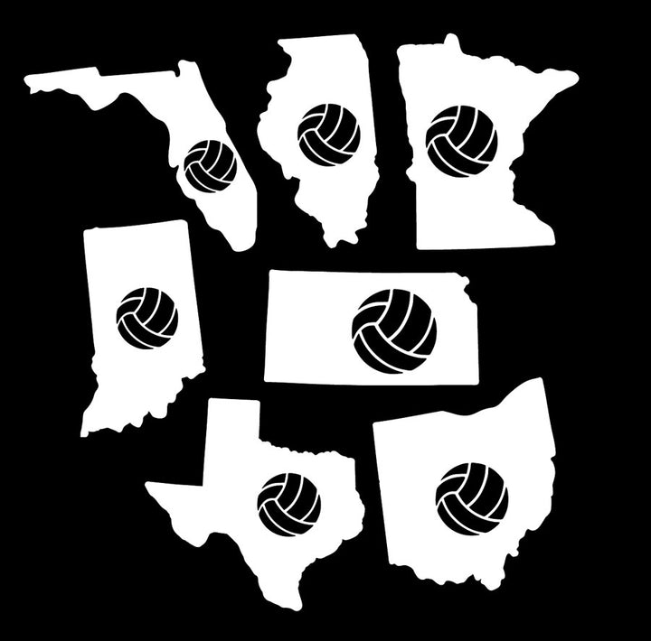 volleyball state car window decals