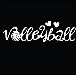 Volleyball car decal with hearts